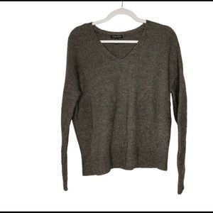 Eileen Fisher Gray Alpaca Blend Vneck Sweater